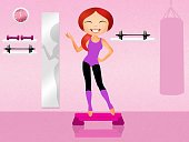 Exercising,Silhouette,Ilustration,Weight Training,Aerobics,Fun,Smiley Face,Sport,Practicing,Women,Pilates,Joy,Healthy Lifestyle,Lifestyles,Healthcare And Medicine,Gymnastics