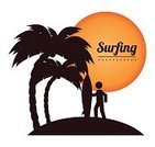 Advertisement,Ilustration,Concepts,Tropical Climate,Vacations,Vector,Beach,Surfing,Surf,Season,Label,Summer