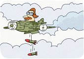 Airplane,Pilot,Bombing,World War II,War,Bomb,World War I,Vector,Clip Art,Ilustration,Wing,Speed,Flying,Metal,Weapon,ww11,Cloudscape,Cloud - Sky,Mode of Transport,Sky,Illustrations And Vector Art,Travel,Flying Goggles,People Traveling,Piloting