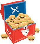 Burger,Treasure Chest,Child,Trunk,Food,Hamburger,Party - Social Event,Red,Fork,Open,Parties,Holidays And Celebrations,Fun,Surprise,Open Chest
