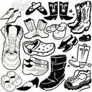 Cowboy Boot,Shoe,Ballet Slipper,Dress Shoe,Baby Booties,Boot,Sports Shoe,Canvas Shoe,Slipper,Flip-flop,Sandal,Vector,Snow Boot,Ilustration,Work Boot,Artificial Wing,Sign,Black And White,Line Art,Clip Art,Collection,High Heels,Star Shape,Set,Objects/Equipment,Illustrations And Vector Art