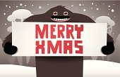 Yeti,Ilustration,Landscape,2015,Snow,Tree,Poster,Pine,Cartoon,Christmas,Paper,Greeting Card,Holiday,Snowman,abominable,Animation,The Human Body,Humor,Year,Cold - Termperature,Handle,White,Drawing - Activity,Red,Text,Postcard,Season,Animal,Backgrounds,Banner,Placard,Vector,Party - Social Event,Fir Tree,Evil,Drawing - Art Product,Animal Hand,Hill,Winter,New,Spooky