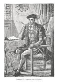 Edward VI,Engraved Image,English History,House Of Tudor,Son,UK,English Culture,Costume,Tudor Style,British Culture,The Past,Historical Clothing,Social History,Drawing - Art Product,White Background,Indoors,Antique,One Person,Sitting,tudors,England,Nobility,King,Adult,Royal Person,Period Costume,Black And White,Old-fashioned,Traditional Clothing,Henry Viii Of England,Jane Seymour - Royal Person,Cultures,16th Century Style,Full Length,Vertical,Image Created 19th Century,Medieval,Renaissance,Ilustration