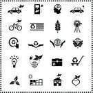 Icon Set,Nature,Responsibility,Environment,Symbol,Solar Panel,Energy Conservation,Organization,Pollution,Alternative Energy,Electric Car,Environmental Conservation,Light Bulb,Energy,Solar Energy,Climate,Tree,Earth,Sun,Home Interior,Car,Garbage,Recycling,Leaf,Globe - Man Made Object
