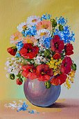 Still Life,Oil Painting,Bouquet,Clip Art,Color Image,Ilustration,Beauty In Nature,Poppy,Decoration,Leaf,Table,Vase,Painted Image
