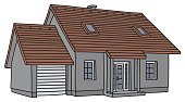 Garage,Gray,Cottage,Vector,Cartoon,Family,Building Exterior,Home Interior,House,Residential Structure,Construction Industry,Building - Activity,red roof