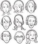 People,Black And White,Human Body Part,Human Face,Brown Hair,Caucasian Ethnicity,African-American Ethnicity,Listening,Beauty,Adult,Headphones,Outline,Noise,Coloring Book,Illustration,Sound,Men,Women,Vector,African Ethnicity,Beautiful People,Podcasting,Clip Art