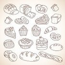 Bun,Drawing - Art Product,Pie,Berry Fruit,Sweet Food,Candy,Old-fashioned,food icons,Cute,Snack,Bagel,Healthy Eating,Food,French Bakery,Outline,Childishness,hand drawn,Breakfast,Tart,Cafeteria,Donut,Pastry,Retro Revival,Bread,Toast,Bakery,Cupcake,Cafe,Dessert,Croissant,Cake,Icon Set