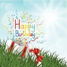 Holiday,Vector,Shiny,Cartoon,Grass,Pink Color,Yellow,Ribbon,Box - Container,Sky,Nature,Green Color,Gift,Decoration,Birthday,Design,Blue,Sunny,Vibrant Color,Entertainment,Colors,No People,Celebration,Flying,Confetti,Carnival,Gift Box,Summer,Outdoors,Meadow,Sunlight,Backgrounds,Sun,Red