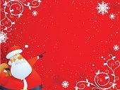 Santa Claus,Christmas,Cartoon,Fretwork,Christmas Decoration,Decoration,Backgrounds,Snowflake,Vector,Copy Space,Red,Pointing,Ilustration