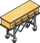 Dead Person,Death,Halloween,Isometric,Hospital Gurney,Mummified,Pine,Wake,Podium,Plain,Grained,Cremation,Three Dimensional,Push Cart,Wood - Material,Simplicity,The Human Body,Coffin,Funeral,embalm
