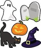 Ghost,Halloween,Witch's Hat,Cartoon,Domestic Cat,Tombstone,Cemetery,Pumpkin,Design Element,Spooky,jack-o-lantern,Halloween,Vector Cartoons,Holidays And Celebrations,Black Color,Celebration,Orange Color,Illustrations And Vector Art