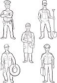 Bib Overalls,Repairman,Mechanic,Mustache,Farm Worker,Occupation,Doctor,black-and-white,Black And White,Tire,Police Force,Cap,Farmer,Vector,Stethoscope,Collection,Coloring Book,Ilustration,Men,Standing,Full Length,People,Caucasian Ethnicity