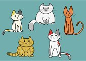 Overweight,Tibetan Culture,Calico,Hand Draw,Spotted,Abyssinian Cat,Simplicity,Sitting,Front View,Set,Variation,Ilustration,Vector,Humor,Animal,Pets,Full Length,Cute,Domestic Cat,Sparse