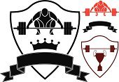 Sign,Set,Insignia,Banner,Symbol,Healthy Lifestyle,Isolated,Design Element,Competition,Placard,Ribbon,Vector,Weightlifting,Black Color,Athlete,Weight,Sport,Crown,Power,Red