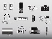 Headphones,Video Game,USB Cable,Computer Icon,Symbol,Computer Cable,MP3 Player,Electrical Equipment,Digital Camera,Speaker,Mobile Phone,Electronics Industry,Video Conference Camera,Camera - Photographic Equipment,Consoling,Audio Equipment,Telephone,Digitally Generated Image,Piano,Recording Studio,Control,Sound,Shiny,Hard Drive,Piano Key,Computer Peripheral,Black And White,Computer Printer,Objects/Equipment,Electronics,Illustrations And Vector Art,Household Objects/Equipment,Vector Icons,Technology,SLR Camera