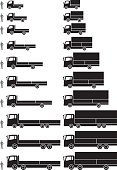 Truck,Pick-up Truck,Semi-Truck,Small,Vector,Comparison,box truck,Light Goods Vehicle,4t,2t,Freight Transportation,People,Car,Cargo Container,Carrying,Large,Scale