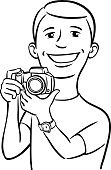Paparazzi Photographer,Technology,Cheerful,Photographer,Digital Camera,Photographing,Holding,Ilustration,Coloring Book,Clip Art,Outline,T-Shirt,dslr,Camera - Photographic Equipment,Humor,Human Face,Vector,Black And White,black-and-white,Men,People,Photographic Equipment,Caucasian Ethnicity,Emotion,Adult,SLR Camera