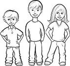 Coloring Book,People,Vector,Cute,Full Length,Jeans,Caucasian Ethnicity,Child,Little Boys,Shirt,Standing,Summer,Black And White,black-and-white,Ilustration,Humor,Blue,Outline,Polo Shirt