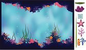 Wildlife,Ilustration,Grotto,Tunnel,Beach,Deep,Vector,Backgrounds,Sea,Nature,Reef,Image,Blue,Cave,Underwater