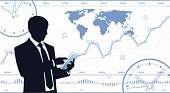 Global Finance,Digital Tablet,Men,Portable Information Device,Clock,Computer,Market,Global Business,Financial Occupation,World Map,Analyzing,Research,Manager,Growth,Chart,Silhouette,Trader,Finance,Businessman,Exchange Rate,One Person,Development,Progress,Data,Business,Financial Figures,Investment,Busy,Stock Market Data,Number