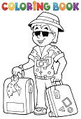 Lifestyles,Summer,Activity,Recreational Pursuit,Camera - Photographic Equipment,Vacations,Bag,Suitcase,Art,Vector,Ilustration,Happiness,Pants,Sunglasses,Carrying,Journey,Shirt,Luggage,Hat,Smiling,Drawing - Art Product,Outline,Coloring,Tourist,One Person,People Traveling,Young Adult,Men,Travel,Tourism,Eps10