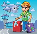 Tourist,Happiness,Transportation,Journey,Tower,Carrying,Recreational Pursuit,Activity,Built Structure,Camera - Photographic Equipment,Airport,Suitcase,Bag,Lifestyles,Pants,Eps10,Summer,Art,Sunglasses,Building Exterior,Shirt,Men,Young Adult,One Person,Tourism,Travel,People Traveling,Vacations,Airplane,Air,Smiling,Vector,Hat,Design,Ilustration,Air Vehicle,Drawing - Art Product,Luggage