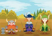 Retro Revival,Fairy Tale,Old-fashioned,People,Autumn,Landscape,Green Color,Glade,Forest,Standing,Warrior,Weapon,Cartoon,Three People,Bow,Majestic,Musketeer,Hat,Beard,Work Helmet,Viking,Cloud - Sky,Arrow,Elf,Dwarf,Men,Vector,Characters,Fantasy,Heroes,Caricature,Nature,Armed Forces,Sword,Body Armor,Cloudscape,Sky,Blue,Gnome