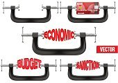 Physical Pressure,Budget,Vise Grip,Ideas,Ilustration,Conflict,Coin Bank,Crisis,Banking,Hanging,Business,Democracy,Clamp,Credit Card,Finance,Sanctions,Vector,Backgrounds,Strength