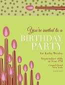 Birthday,Invitation,Candle,Typescript,Cartoon,Vector,Pink Color,Ilustration,Text,Decoration,Greeting,Party - Social Event,Green Color,template,Celebration,Backgrounds,Event,Greeting Card