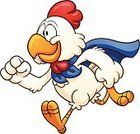 Rooster,Chicken - Bird,Running,Cartoon,White,Cape,Hen,Cheerful,Ilustration,Isolated,Cute,Vector,Color Gradient,Characters,Super - Film Title