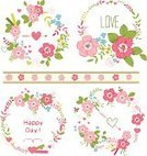 Cute,Wedding,Flower Head,Greeting Card,Clip Art,Organic,Doodle,Nature,shabby chic,Creativity,Beautiful,Romance,Invitation,Color Image,Greeting,Pink Color,Set,Group of Objects,Rose - Flower,Style,Save The Date,Flower,Bouquet,Love,Season,Retro Revival,Ilustration,Isolated