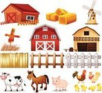 Livestock,Cow,Barn,Ranch,Farm,Wood - Material,Gate,Farmhouse,Scarecrow,Animal,Hay,Pig,Backgrounds,vectorized,Single Object,Rooster,Vector,Horse,Clip Art,Series,barnhouse,Puppet,Milking,poulty,Computer Graphic,Group of Objects,Collection,Agriculture