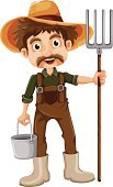 Jumpsuit,Smiling,Hat,Gardening,Brown,Rake,Vector,template,Bucket,Wood - Material,Mustache,Beard,Image,Computer Graphic,Handle,Clip Art,Backgrounds,vectorized,Effort,People,Men,Little Boys,Standing
