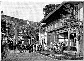 Japan,19th Century Style,Painted Image,Town,Art,Classical Style,Retro Revival,History,Ilustration,Sketch,Drawing - Art Product,Street,Spectator,Men,People,Suwa,Cultures,Black And White,Isolated On White,Women,Antique,Old-fashioned,Obsolete,Old,Engraved Image,Science,Isolated,Crowd,City,House,Urban Scene,Victorian Style,Print
