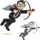 Cupid,Matchmaker,Archery,Business,Married,Office Interior,Cartoon,Angel,Winking,Arrow,Engagement,Animal Heart,Vector,Suit,Consultant,Valentine's Day - Holiday,Love,Honeymoon,Heart Shape,Shooting at Goal,Arrow Symbol,Bow,Black And White,Tie,Tying,Asian Ethnicity,Black And White Instant Print,Flying,African Descent,Dating,Line Art,Actions,Vector Cartoons,Illustrations And Vector Art,Business People,Ilustration,Wing,Wing,Artificial Wing,Business