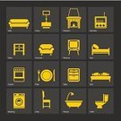 Equipment,Furniture,Symbol,Sign,Stove,Washing Machine,Bed,Sofa,Table,Closet,Indoors,Domestic Room,Armchair,Electric Lamp,Television Set,Bedroom,Decoration,Backgrounds,Fireplace,Domestic Life,Illustration,No People,Vector,Collection,Background,Single Object,Lamp