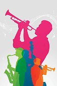 Musical Band,Jazz,Silhouette,Multi Colored,Trumpet,Jazz Festival,Double Bass,Treble Clef,Popular Music Concert,Vibrant Color,Wave Pattern,Green Color,Pink Color,Transparent,Vertical,Music Festival,Montreal,Four Piece,Quartet,Copy Space,Pianist,Piano,Saxophonist,Concert Band,Musical Note,Blue,Musician,Vector,Orange Color,Group Of People