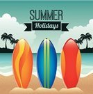Surfboard,Decoration,Tourism,Tropical Climate,Concepts,Vacations,Weather,Season,Travel,Symbol,Beach,Summer,Ilustration,Design,Tree,Vector,Palm Tree,Nature