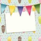Party - Social Event,Knick Knack,Decoration,Invitation,Milkshake,Drinking Straw,Greeting Card,Glass,Clipping Path,Yellow,Purple,Red,Pattern,Drink,Celebration,Ice Cream,Backdrop,Blue,Pink Color,Green Color,Bunting,Copy Space,Ilustration,Vector,Ribbon,Color Gradient,Polka Dot