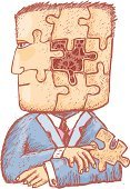 Puzzle,Human Brain,Human Head,Complexity,Adversity,Jigsaw Puzzle,Contemplation,Gear,Thinking,Men,Examining,Sadness,Awe,Vector,Cartoon,Ilustration,Businessman,Illustrations And Vector Art,Health Symbols/Metaphors,Beauty And Health,Feelings And Emotions,Concepts And Ideas,Vector Cartoons,Tie,Suit,Problems