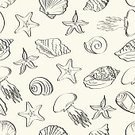 Jellyfish,Pattern,Vector,Backgrounds,Computer Graphic,Animal,Repetition,Scallop,Conch Shell,Black And White,Seamless,Starfish,Tentacle,Black Color,Wallpaper Pattern,Nature,Wildlife,Cut Out,Outline,Aquatic,Sea,Cockleshell,Animal Shell,Cockle