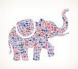 Elephant,Computer Icon,Symbol,Red,Icon Set,Cultures,Republican Party,Barbecue Grill,Beef,Bright,Brightly Lit,Patriotism,Blue,Vector,Star Shape,Freedom,Placard,Badge,Democratic Party,Food,Peace Sign,White,Burger,The Americas,Sheriff,Wood Bison,Barbecue,Vibrant Color,American Bison,Ilustration,Currency,Flag,Fourth of July,Independence Day,Sunbeam,Hot Dog,Propaganda,USA,Politics,Banner,Cowboy,Route 66,Symbols Of Peace,Government