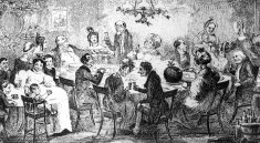 Christmas,Table,Food,Family,Drink,Black And White,Child,Furniture,ceiling light,Light - Natural Phenomenon,Concepts And Ideas,Arts And Entertainment,Horizontal,Time,People,Visual Art,Lightweight,Female,Male,Domestic Life