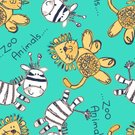 Stitch,Embroidery Pattern,Striped,Fur,Cheerful,Zoo,Cute,Happiness,Wildlife,Animals In The Wild,Lion - Feline,Zebra,Vector,seamless pattern,Embroidery,Africa,Animal,zoo animals