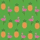 Fruit,Summer,Flamingo,Pineapple,Vector,Sweet Food,Bird,Animal,Pattern,Characters,Cute,Season,Pink Color,Tropical Climate,Ilustration,Print,Seamless