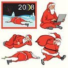 Santa Claus,Drunk,Year,Cartoon,Holiday,Christmas,New,Fun,Party - Social Event,Laptop,Snow,Cool,Old,Agreement,Bag,White,Holidays And Celebrations,Vector,Winter,Illustrations And Vector Art,Moving Up,Ilustration,Male,Gift,Communication,Positive Emotion,Cold - Termperature,Dark,Red