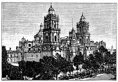 Mexico,Town Of Mexico,Obsolete,Antique,Old,Black And White,Old-fashioned,Engraved Image,Science,City,Metropolitan Cathedral,Cathedral,Victorian Style,Isolated,Ilustration,History,Mexico City,Cultures,Urban Scene,Famous Place,Print,Isolated On White,Sketch,19th Century Style,Classical Style,Retro Revival,Painted Image,Art,Drawing - Art Product