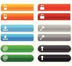 Interface Icons,Push Button,Downloading,Keyhole,Security,Internet,Mobile Phone,Key,Web Page,E-Mail,Telephone,'at' Symbol,Green Color,Symbol,Lock,Blue,Communication,Customized,Vector,Global Communications,Computer Icon,Ilustration,www