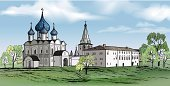ancient building,Monastery,Summer,Famous Place,Arranging,Russia,Town,The Golden Ring Of Russia,Urban Skyline,Kremlin,hand drawing,Cathedral,Architecture,Russian City,Suzdal,Church,Cityscape,Hand Draw,Computer Graphic,Fort,Tours